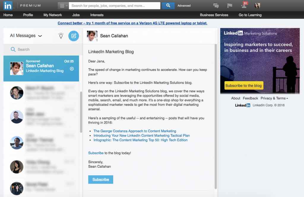linkedin inmail ads