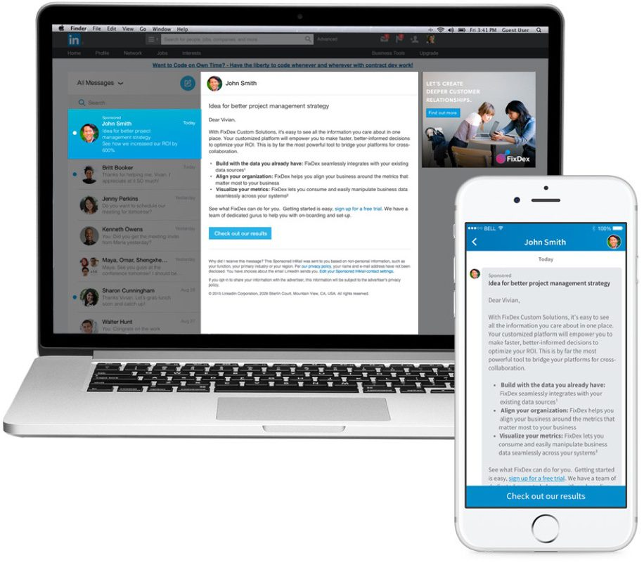 LinkedIn Sponsored InMail - linkedin adverteren | shift